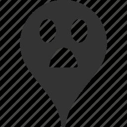 emoticon, emotion, map marker, pointer, position, smile, wonder icon