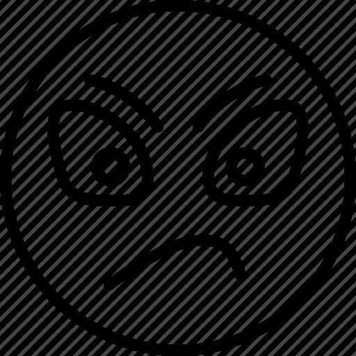 angry, emoticons, eyebrows, furrow, smiley, upset icon icon