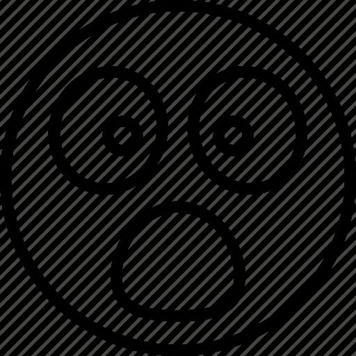 astonished face, hushed face, shocked, surprised, wondering icon icon