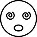 confused, dizzy emoji, emoticon, silly face, smiley icon icon