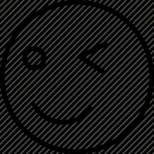 emoji, face, smiley, winking icon