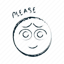 ask, asking, avatar, beg, begging, emoticon, emoticons, emotion, face, hand drawn, head, person, please, smile, smiley icon
