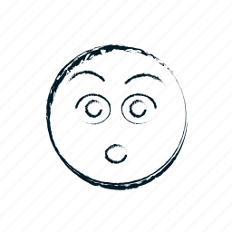 afraid, amazed, avatar, disturbing, emoticon, emoticons, emotion, face, fear, hand drawn, head, overwhelmed, person, shock, shocked, smile, smiley, surprised icon