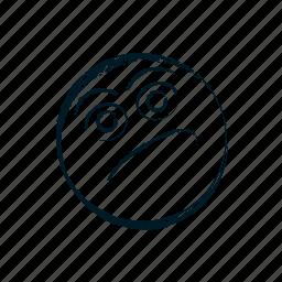 avatar, emoticon, emoticons, emotion, face, hand drawn, head, irony, person, sarcasm, smile, smiley, thinking icon