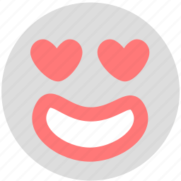 emotion, face, grinning, heart, like, love, smiley icon