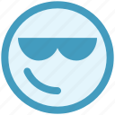 attitude, emoji, expression, face, facial, glasses, smiley icon