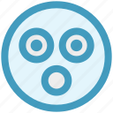 emoji, emoticon, expression, face, shocked, shocked face, smiley icon