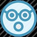 emoji, emoticons, expression, face, glasses, shocked, smiley