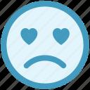 adoring, baffled emoticon, crying, face expression, love beat, sad, weeping icon