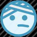emoji, emoticons, expression, face, head beat, monochrome, pain