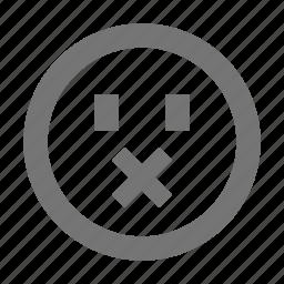 emoji, emotion, expression, face, head, mute, silence icon