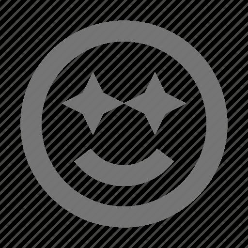emoji, happy, smile, smiley, stars, starstruck icon