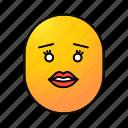 emoji, emoticon, female, kiss, lips, smiley, woman icon