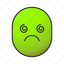 dizzy, emoji, emoticon, face, fatigued, sick, smiley icon