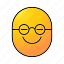 bespectacled, clever, emoji, emoticon, nerd, smiley, wiseacre icon