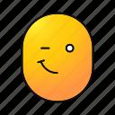 blinking, cheerful, emoji, emoticon, happy, smiley, winking