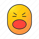emoji, emoticon, face, scared, screaming, shouting, smiley icon