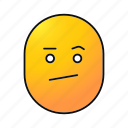 bored, doubted, emoji, emoticon, face, smiley, uninterested
