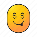 dollar, emoji, emoticon, face, greedy, smiley, yummy icon