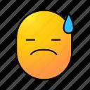 emoji, emoticon, nervous, sad, smiley, sweaty, upset