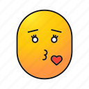 emoji, emoticon, female, kiss, love, mwah, smiley