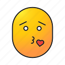 emoji, emoticon, kiss, love, male, smiley, wmah