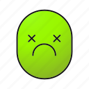 dead, emoji, emoticon, face, sad, sick, smiley icon