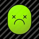 dead, emoji, emoticon, face, sad, sick, smiley