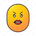 angry, emoji, emoticon, face, female, sad, smiley icon