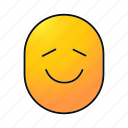 emoji, emoticon, glad, happy, satisfied, smiley, smiling icon