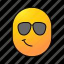 cool, emoji, emoticon, face, grinning, smiley, smirking
