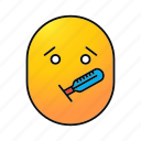emoji, emoticon, fever, ill, sick, smiley, temperature icon