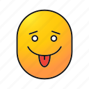 emoji, emoticon, face, joking, make fun, smiley, teasing icon