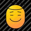 angel, emoji, emoticon, happy, holy, saint, smiley