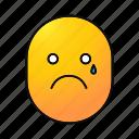 crying, emoji, emoticon, sad, smiley, teary, unhappy icon