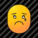 crying, emoji, emoticon, female, sad, smiley, teary icon