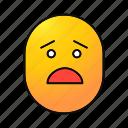 amazed, emoji, emoticon, face, frightened, shocked, smiley icon