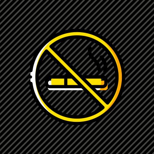 and, no, sign, smoking, vaping, yellow icon