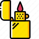 and, ligher, smoking, vaping, yellow, zippo icon