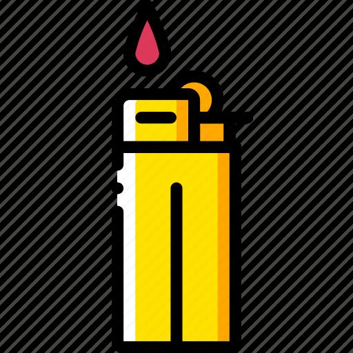 and, lighter, smoking, vaping, yellow icon