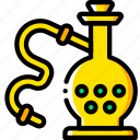 and, hooka, pipe, smoking, vaping, yellow icon