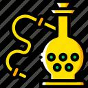 and, hooka, pipe, smoking, vaping, yellow icon