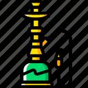 and, pipe, sisha, smoking, vaping, yellow icon