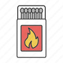 burn, fire, flame, match, matchbox, matchstick, pack icon