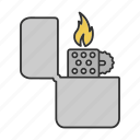 accessory, cigarette, fire, flip, lighter, smoke, smoking icon