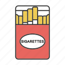 cigaret, cigarette, cigarettes, pack, smoke, smoking, tobacco icon