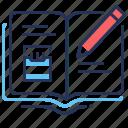 pencil, diary, smoking, writing icon