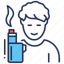 e-cigarette, device, man, smoking icon