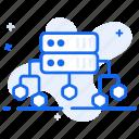 big data, data flow, datacenter, distributed data, server network icon