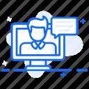online chatting, online communication, online conference, online conversation, online meeting icon
